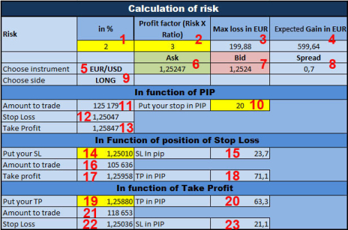 Forex pip calculator excel