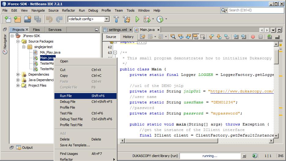 Dukascopy - Use In NetBeans